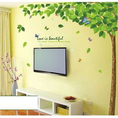 1Pcs Big Green Tree Wallpaper Diy Wall Decals Stickers Home Deco 60X90Cm #23214