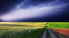 Lightning Over Colored Field Wallpaper #29540 - Resolution 1920x1080 px