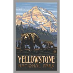 Glacier National Park Rockies Grizzly Bears Travel Art Print Poster by Paul A. Lanquist x Us National Parks, Grand Teton National Park, Banff National Park, Vintage National Park Posters, Old Poster, Party Vintage, Vintage Style, Yellowstone Nationalpark, Yellowstone Park
