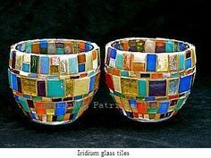 Patricia Clewell Mosaic Candle Holder made of Iridium glass tiles Should you have a passion for arts and crafts you will enjoy our website! Mosaic Vase, Mosaic Flower Pots, Mosaic Diy, Mosaic Garden, Mosaic Crafts, Mosaic Projects, Mosaic Tiles, Tile Crafts, Mosaic Designs