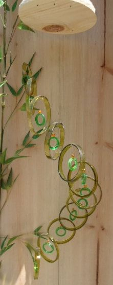 RECYCLING GREEN bottles into windchimes