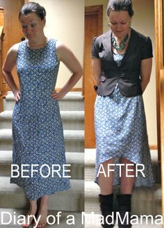 Ugly Dress to Hi-Low Dress Refashion   Diary of a MadMama...not sure about the bottom..I would make it even but I like the change of the neckline and such
