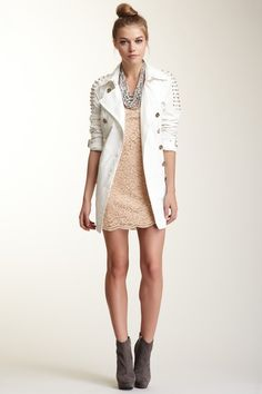 Sam Edelman Jordie stud shoulder double breast trench coat + silver necklace + pale pink lace dress + gray booties