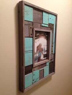 Distressed Colored Frame, Blue, Natural, Pallet Pieces, Frame, Home Decor on Etsy, $36.00