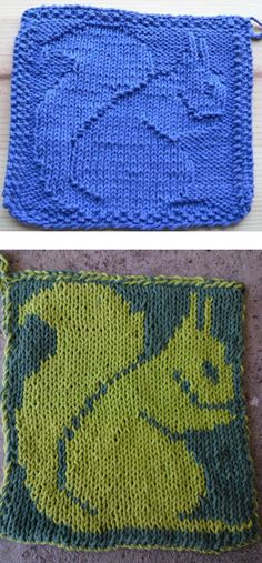 Free Knitting Pattern for Squirrel Dish or Face Cloth - Squirrel silhouette in knit and purl stitches that can also be used on afghan blocks and other knitting projects. Chart can also be used for colorwork. Designed by Barbara Breiter. Pictured projects by tinyknittedjoy and mysterjay who created a doubleknit potholder.