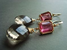 Smokey Quartz Earrings, Pink, Bubble Gum Pink, Smoke Gray, Gemstone Earrings, Faceted Briolette Earrings Gold. $56.00, via Etsy.
