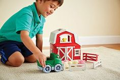 Farm Play Set Toddler Kids Barn Animals Figures Truck Pretend Playset Toy New #GreenToys
