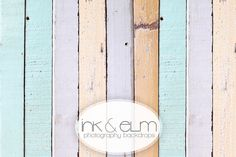 """Vinyl Photography Backdrop 5ft x 5ft, Photo Backdrop Spring, Vintage Old Color Wood background, """"Dipped in Pastel"""""""
