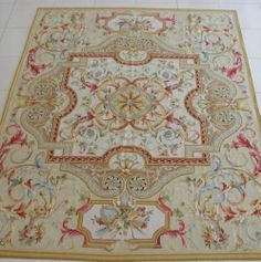Hand-woven Floral Roses Wool French Aubusson Flat Weave Beige Area Rug~New