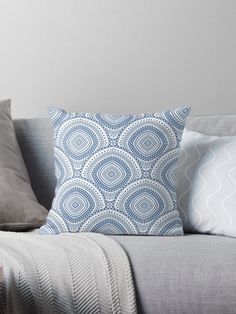 Pretty blue boho chic  Throw Pillows