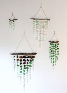 Beach glass and driftwood mobiles