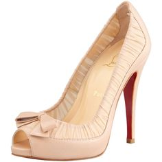 Christian Louboutin Angelique Chiffon & Leather Red Sole Pump, Nude ($895) ❤ liked on Polyvore