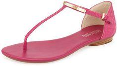 love this  -- MICHAEL Michael Kors Kristen Snake-Embossed Leather Thong Sandal, Fuchsia  -- http://www.hagglekat.com/michael-michael-kors-kristen-snake-embossed-leather-thong-sandal-fuchsia/