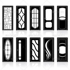 Collection of Classic Doors Silhouettes #GraphicRiver Collection of Classic Doors Silhouettes. - vector illustration only simply linear and radial ...  sc 1 st  Pinterest & Cad Block of Doors elevation in dwg | 2D wireframe cad blocks ...