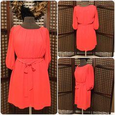 Dark Orange Chiffon Dress w/ Belt Dark Orange Chiffon dress, size small, worn twice, 3/4 length sleeve. Very cute with flats or even cowgirl boots! Dresses Midi