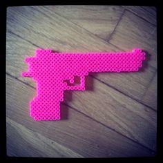 #hama #perler #beads #gun #bang #bangbang #pink