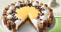 Zutaten 6 Ei(er), (Gew.Klasse 3) 90 g Zucker 70 g Mehl 20 g Kakaopulver 9 BlattGelatine 100 g Butter, weiche 100 g Puderzu...