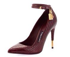 Tom Ford   Bordeaux Padlock Ankle-Wrap Python Pumps
