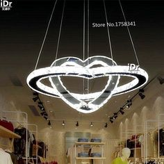 Europe Luxury lamp fashion Double hearts crystal stainless steel LED pendant chandelier  high quality free delivery #Affiliate