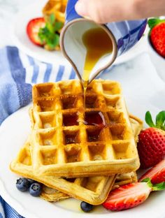 are going to love these classic vegan waffles! They are super quick and easy to make and they are golden crispy on the outside and perfectly fluffy on the inside. They make the perfect vegan breakfast! Vegan Waffle Recipe Easy, Vegan Pancake Recipes, Waffle Recipes, Vegan Foods, Vegan Snacks, Whole Food Recipes, Vegan Recipes, Vegan Sweets, Diet Foods