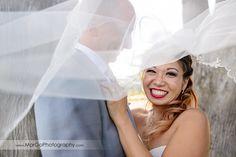 veil shot of bride & groom at Mavericks Event Center in Half Moon Bay