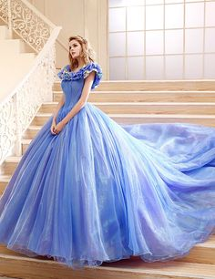 Dress U Ball Gown Quince Dress Cinderella Dresses Blue US 2 Cinderella Quinceanera Dress, Princess Prom Dresses, Princess Ball Gowns, Cinderella Dresses, Blue Wedding Dresses, Quinceanera Dresses, Designer Wedding Dresses, Cinderella Princess, Cinderella Wedding