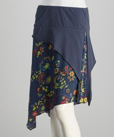 This Denim Blue Floral Skirt is perfect! #zulilyfinds. I like the high/low aspect of this.