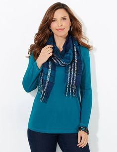 Sojourner Scarf | Catherines Stay warm in style with our cozy, boucle knit scarf. The allover plaid pattern is complemented by hanging fringe at the ends. Catherines scarves and wraps are fully fashioned to flatter the plus size figure. #catherines #fall #scarf [Promotional Pin] (sweepstakes)