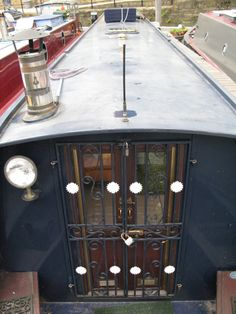 A pretty set of bars over the doors would probably make me feel a lot safer! Diy Home Security, Mobile Security, Security Door, Canal Boat Interior, Barge Interior, Canal Barge, Narrowboat Interiors, Dutch Barge, Living On A Boat