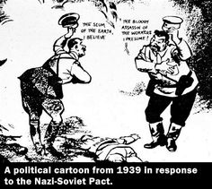 "Political cartoon from 1939 in response to the Nazi-Soviet Pact. Under the Nazi-Soviet Pact, Hitler and Stalin also agreed to ""share"" the invasion of Poland. What was the fate of poor Poland, lying in the middle? Also, Take note of the tone of the dialogue. Can you sense and identify the sarcasm?"