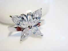 Large Cubic Zircon Butterfly Silver Ring