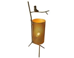 """BIRDY TABLE LAMP Collection: Jose Esteves Made in France Sculptural table lamp with hand-forged steel branch form. Perforated steel cylinder shade diffuses the light and is hand painted black on the outside and a reflective gold inside. Signed by the artist. 9""""W x 26""""H"""