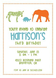 Zoo Birthday Party Invitation It's a Jungle Out by sugarhouseink