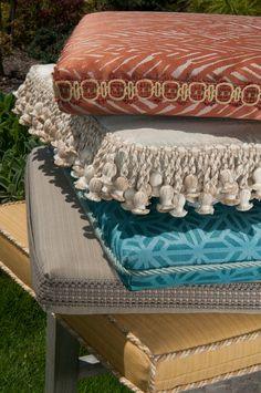 Indoor/Outdoor trimmings take outdoor cushions to a new level. Trim by Brimar. #brimar  #trim