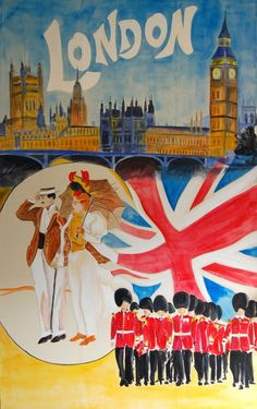 1930s London vintage watercolor travel poster