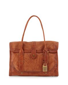 Campus+Leather+Satchel+Bag,+Saddle+by+Frye+at+Neiman+Marcus.