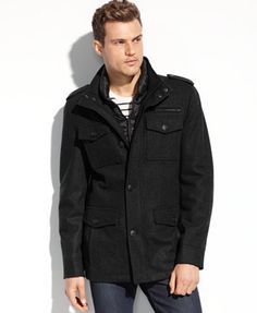 GUESS Coats, Wool-Blend Military Coat with Removable Puffer Bib   macys.com