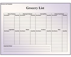 Grocery List Template   Free Word Pdf Documents Download