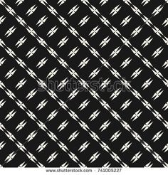 Abstract geometric seamless texture with edgy shapes, diagonal lines, stars, crosses. Monochrome geometrical pattern. Black and white repeat background. Design for decor, prints, covers, cloth, fabric