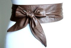 Brown soft Leather Obi Belt tulip tie Waist or Hip by LoveYaaYaa