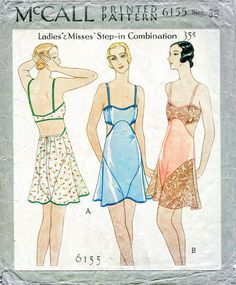1920s Lingerie History- Slips, Steps Ins, Robes, Night Gowns and Bed Caps 1930s 30s vintage lingerie sewing pattern romper bodysuit lace teddy bust 36 b36 English & French reproduction $18.50 AT vintagedancer.com