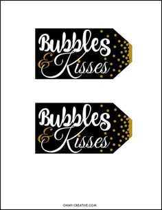 Champagne Bubbles And Kisses Free Printable Gift Tag From New Year's Eve, Weddings or any celebration, grab this Bubbles and Kisses Champagne and Chocolate FREE Printable Gift Tag to add to you Free Printable Gift Tags, Printable Planner Stickers, New Year Printables, Free Printables, New Years Party, New Years Eve, New Year's Eve Countdown, New Year Diy, Wine Tags