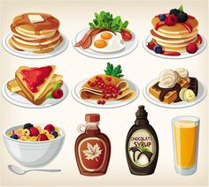 breakfast clip art | 10 vector breakfast clip art images with pancakes with butter and ...