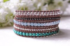Delicate and Light Turquoise Mix Wrap Bracelet