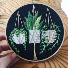 Sewing Embroidery Designs At Home Is Real Fun. – Embroidery Patterns Macrame Hanging Basket Hoop Art, so pretty Hand Embroidery Stitches, Embroidery Hoop Art, Hand Embroidery Designs, Cross Stitch Embroidery, Embroidery Ideas, Embroidery Sampler, Embroidery Techniques, Knitting Stitches, Hand Stitching