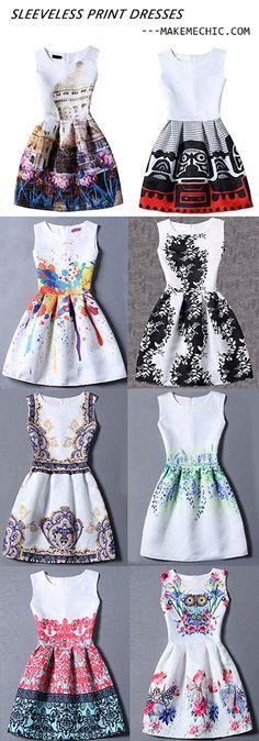 Colour Sleeveless Random Print Jacquard Dress