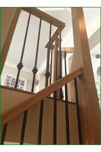 Spicer Street Staircase   American White Oak Staircase With Whitewood  Treads And Ply Risers With A. Metal Spindles:: ...