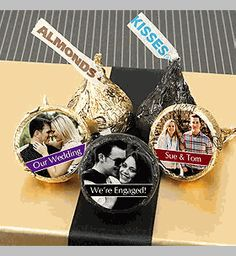 Our Personalized Photo Hershey Kisses Wedding Favors make a simple treat for your guests! Hand these out inside favor bags or boxes for a sweet send off. Decadent Chocolate, Love Chocolate, Chocolate Wedding Favors, Kiss Photo, Hershey Kisses, First Kiss, Reception Table, Favor Bags, Christmas Ornaments