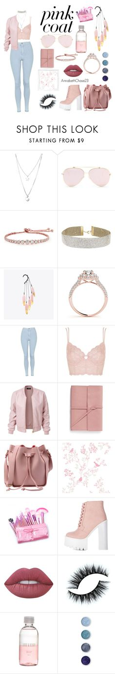 """""""Pink Coat"""" by annabethchase23 ❤ liked on Polyvore featuring Kate Spade, CARAT* London, Miss Selfridge, Polaroid, Topshop, LE3NO, Bynd Artisan, Lime Crime, Lord & Berry and Terre Mère"""