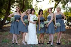 I like that the bridesmaids each added their own little flavor to their dress. Cute.